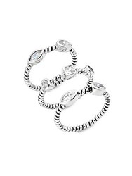 Saks Fifth Avenue Studded Spiral Stackable Rings Silver
