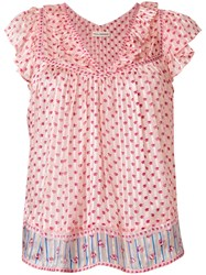 Ulla Johnson Floral Shift Blouse Pink And Purple