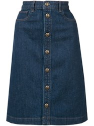 A.P.C. Stonewashed Denim Skirt Blue