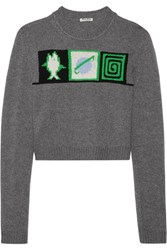 Miu Miu Cropped Intarsia Cashmere Sweater Gray