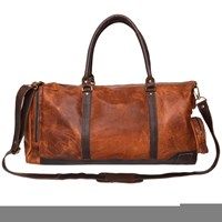 Mahi Leather Columbus Holdall Duffle Weekend Overnight Bag In Vintage Brown With Mahogany Details