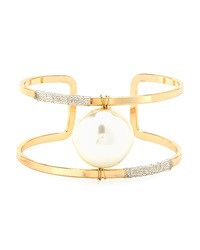 Lydell Nyc Pearly Wire Wrapped Golden Cuff Bracelet