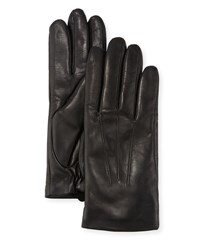 Ugg Three Point Leather Gloves W Faux Fur Lining Black