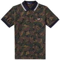 Fred Perry Camouflage Pique Polo Green