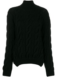 Simone Rocha Cable Knit Sweater Black