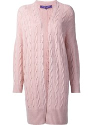 Ralph Lauren Long Cable Knit Cardigan Pink And Purple