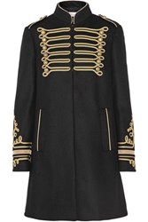 Red Valentino Redvalentino Embroidered Wool Blend Coat Black