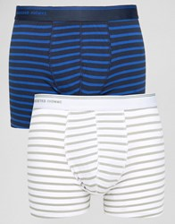 Selected Homme Trunks 2 Pack With Stripe Dark Sapphire Multi
