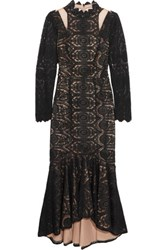 Mikael Aghal Guipure Lace And Tullle Dress Black