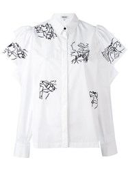 Kenzo Embroidery Ruffle Sleeve Blouse Women Cotton 38 White