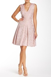 Carmen Marc Valvo Printed Fit And Flare Dress Pink