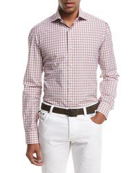 Isaia Box Check Sport Shirt Pink Brown