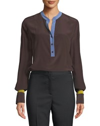 Piazza Sempione Henley Button Placket Long Sleeve Charmeuse Blouse Ecru