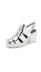 Opening Ceremony Grunge Fisherman Sandals Silver