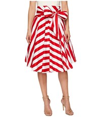 Unique Vintage High Waisted Bow Skirt Red Striped Women's Skirt White