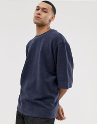 Asos White Oversized Inside Out Sweat T Shirt In Navy