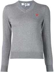 Comme Des Gara Ons Play Embroidered Heart V Neck Sweater Grey