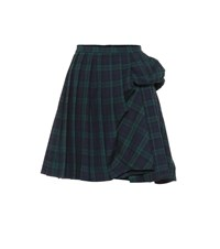 Y Project Checked Wool Blend Miniskirt Green