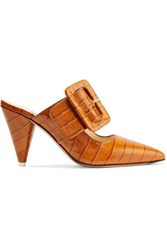 Attico Chloe Croc Effect Leather Mules Camel