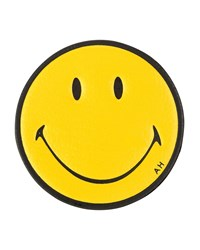 Smiley Face Leather Sticker For Handbag Mustard Anya Hindmarch Yellow