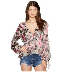 For Love And Lemons Cadence Blouse Pink Floral Women's Blouse