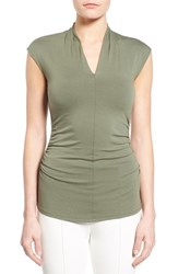 Women's Vince Camuto Side Ruched Pleat V Neck Top Sage