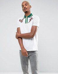 Asos Polo Shirt With Bird Embroidery And Metallic Tipped Collar White