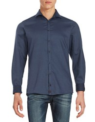 Strellson Textured Cotton Sportshirt Medium Blue