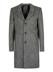 Topman Mid Grey British Fabric Collection Grey Wool Overcoat