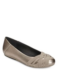 Aerosoles Spin Cycle Crisscross Faux Leather Ballet Flats Soft Gold