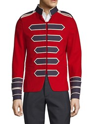 Valentino Embroidered Cotton Sportcoat Scarlet