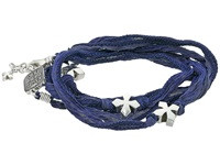 King Baby Studio Multi Wrap Indigo Silk Bracelet With Crosses