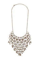 Forever 21 Faux Gemstone Statement Necklace Antic Gold Peach