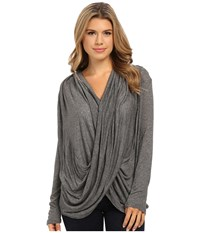 Culture Phit Cowl Neck Long Sleeve Top Charcoal Women's Clothing Gray