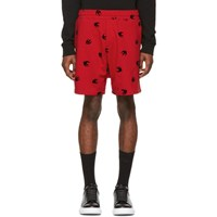 Mcq By Alexander Mcqueen Red Mini Swallow Shorts