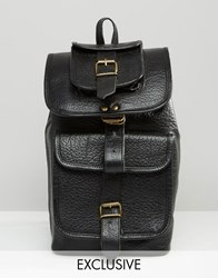 Reclaimed Vintage Premium Leather Long Strap Backpack Black