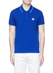 Kenzo Tiger Head Patch Polo Shirt Blue