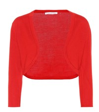 Oscar De La Renta Cashmere And Silk Cardigan Red