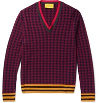 Gucci Stripe Trimmed Houndstooth Wool Sweater Red