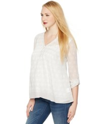 A Pea In The Pod Maternity Blouse Convertible Sleeve Pleated