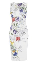 Karen Millen White And Floral Pencil Dress Multi Coloured Multi Coloured