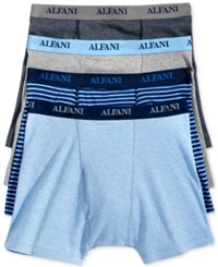 Alfani Men's 4 Pack. Cotton Boxer Briefs Only At Macy's Blue Grey Stripe Light Blue