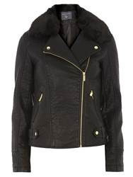 Dorothy Perkins Tall Faux Fur Bonded Biker Black