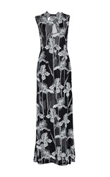 Thakoon High Neck Georgette Devore Maxi Gown Black