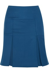 Richard Nicoll Pleated Wool Skirt Blue