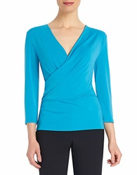 Ellen Tracy Surplice Wrap Top Peacock