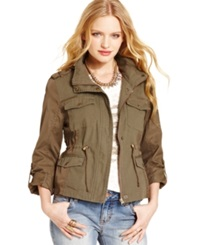 American Rag Mixed Media Military Parka Dusty Olive