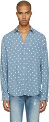 Saint Laurent Blue Polka Dot Shirt