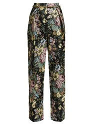 Preen Maggie Floral Jacquard Wide Leg Trousers Black Multi