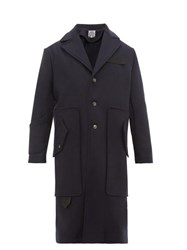 Boramy Viguier Contrast Panel Wool Blend Coat Navy